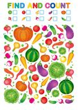 Находка и отсчет Printable рабочее лист для детского сада и preschool Тренировки для номеров исследования Яркое Vegetable pe chil бесплатная иллюстрация