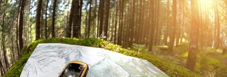 Находить правое положение в лесе через gps стоковое изображение