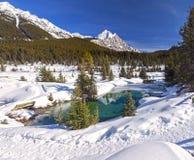 Национального парка Banff весеннего времени каньона Johnston баков чернил озера горный пик Snowy горы голубого канадские скалисты стоковая фотография rf