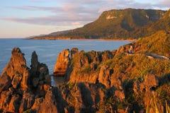 национальное новое ze захода солнца punakaiki парка paparoa Стоковая Фотография