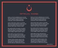 Национальное турецкое istiklal болото как плакат вектора гимна независимости с текстом Стоковое фото RF