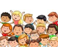 Национальности больших детей компании радостных различные иллюстрация штока