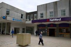 Национальные Вестминстер и банки Barclays в Bracknell, Англии Стоковое Изображение