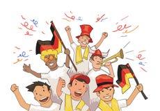 Национальные сторонники футбольной команды веселя для игроков Футбольные болельщики с национальными атрибутами Покрашенный плоски иллюстрация вектора