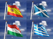 Национальные флаги Стоковое Изображение RF