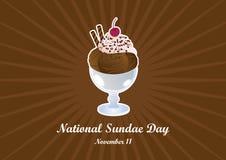 Национальный вектор дня Sundae иллюстрация штока