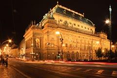 национальный взгляд театра prague ночи Стоковое Изображение RF