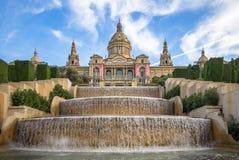 Национальный дворец Барселоны на горе Montjuic стоковая фотография