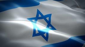 Флаг Израиля развевая Национальный еврейский развевать флага 3d Знак анимации петли Израиля безшовной Еврейская предпосылка разре видеоматериал