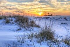 Национальный заход солнца Seaoats Seashore стоковые изображения rf
