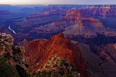 Национальный парк гранд-каньона, Аризона на сумерк Стоковое фото RF