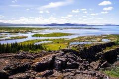 Национальный парк и река Thingvellir в взгляде со стороны 12 Исландии 06,2017 Стоковое Изображение
