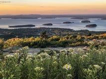 Национальный парк Acadia, горный вид гавани бара стоковое фото rf