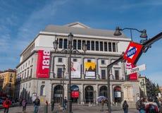 Национальный театр Мадрид на квадрате оперы стоковые изображения rf