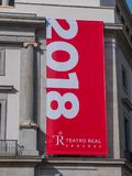 Национальный театр Мадрид на квадрате оперы стоковое изображение