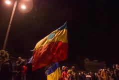 Национальный флаг будучи развеванным во время протеста Стоковые Изображения RF
