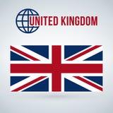 Национальный флаг Великобритании, иллюстрация вектора изолированная на современной предпосылке с тенью иллюстрация вектора