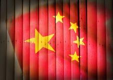 Национальный флаг Китая на бамбуковой древесине Стоковое Изображение RF