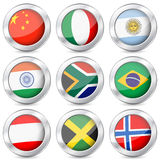 Национальный флаг кнопки металла Стоковые Фото
