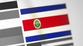 Национальный флаг Коста-Рика страны Флаг Коста-Рика на дисплее, цифровом влиянии муара стоковая фотография rf