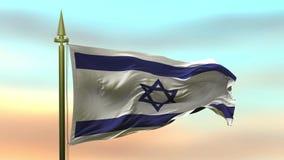 Национальный флаг Izrael развевая в ветре против петли замедленного движения предпосылки неба захода солнца безшовной иллюстрация штока