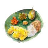 Национальная индийская бенгальская еда на лист бананового дерева, иллюстрации акварели иллюстрация штока