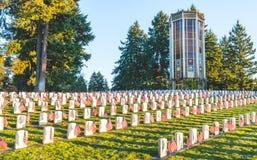 Национальное кладбище с флагом на День памяти погибших в войнах в Вашингтоне, США Стоковая Фотография RF
