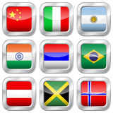 Национальные флаги металла квадратные Стоковое Фото