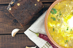 Национальный борщ супа украинца и русского с сметаной Стоковые Фото