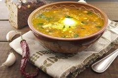 Национальный борщ супа украинца и русского с сметаной Стоковое фото RF