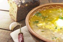 Национальный борщ супа украинца и русского с сметаной Стоковые Фотографии RF