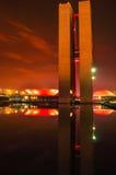 Национальный конгресс в взгляде ночи стоковая фотография