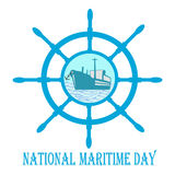 Национальный морской день с штурвалом и анкером и кораблем Стоковая Фотография RF