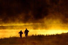 Национальный парк Йеллоустона реки Madison рыболовов мухы Стоковое фото RF
