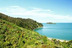 Национальный парк Abel Tasman и Тихий Океан, Новая Зеландия Стоковые Изображения RF