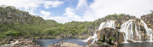 Национальный парк dos Veadeiros Chapada - панорамное фото Стоковые Изображения