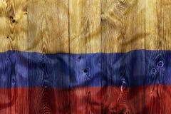 Национальный флаг Колумбии, деревянной предпосылки Стоковое Фото
