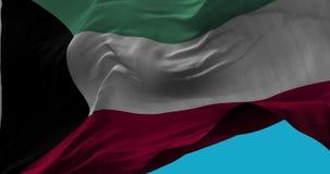 Национальный флаг Кувейта развевая в замедленном движении ветра сток-видео