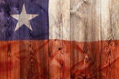 Национальный флаг Чили, деревянной предпосылки Стоковое Фото
