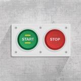 Начало и кнопка стоп в серой предпосылке иллюстрация вектора