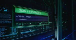 Начальный экран компьютера в современном центре данных стоковые фото