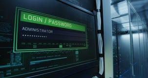 Начальный экран компьютера в современном центре данных видеоматериал