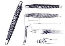 Начертите развитие эскиза дизайна исключительной ручки и ручки шариковой авторучки Иллюстрация штока