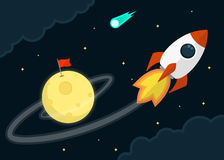 Начните вверх дизайн космоса плоский Стоковые Изображения