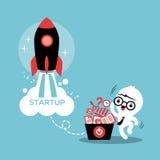 Начните вверх иллюстрацию успеха в бизнесе предпринимателя иллюстрация штока