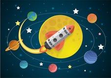 Начните вверх концепцию летание ракеты на луне иллюстрация вектора
