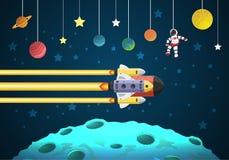 Начните вверх концепцию летание ракеты на луне иллюстрация штока