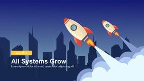 Начните вверх простой веб-дизайн Ракеты, вектор отзывчивого веб-дизайна плоский, шаблон технологии дизайна иллюстрация штока