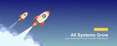 Начните вверх простой веб-дизайн Ракеты, вектор отзывчивого веб-дизайна плоский, шаблон технологии дизайна иллюстрация вектора