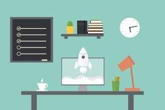Начните вверх Рабочее место в домашней комнате Стильный и старый интерьер Quali Стоковая Фотография